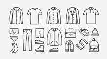 Clothing Icon Set In Linear St...