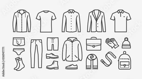 Photo Clothing icon set in linear style