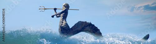 Obraz na plátně The mighty god of the sea and oceans Neptune (Poseidon, Triton)