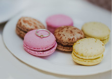 The Engagement Ring In White Gold Is Depicted On A Bright Pink Cookie. Tasty Marriage Proposal