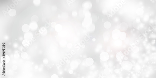 white and gray Christmas light with snowflake bokeh background, Winter backdrop wallpaper. - 306951330