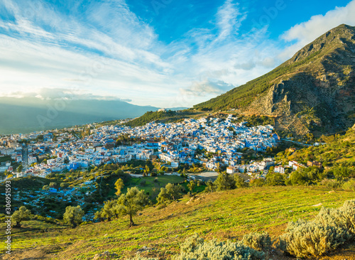 Chefchaouen town in Morocco view with dramatic sky