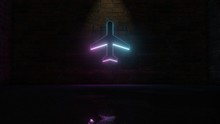 3D Rendering Of Blue Violet Neon Symbol Of Plane Icon On Brick Wall