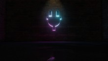 3D Rendering Of Blue Violet Neon Symbol Of Plug Icon On Brick Wall