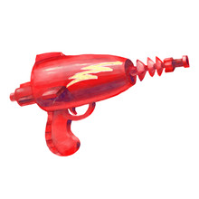 Watercolor Illustration Of A Red Alien Blaster With A Lightning Bolt Imprint In Cartoon Style, Isolated On White Background. Space Punk Raygun Drawing. Laser Gun Fantasy Art. Sci-fi Cosmo Weapon Art.