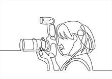 Photographer Woman Line-continuous Line Drawing