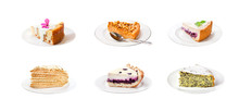 Collage Of Various Sweet Cakes On Plates Isolated On White Background