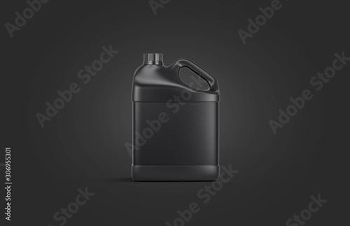 Fototapeta Blank black plastic jug mock up on darkness background obraz