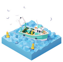 Vector Isometric Fishing Boat In The Sea. Fishing Vessel Or Ship, Commercial Fishing Trawler, Navigational Buoys, Sailor On Deck Watching In Binoculars, Flock Of Seagulls Flying Over The Waves