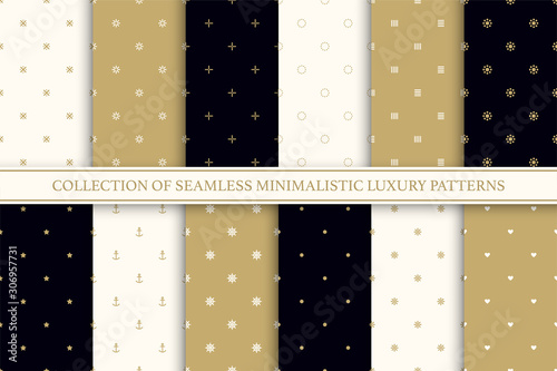 Cuadros en Lienzo  Collection of seamless geometric simple patterns