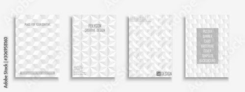 Cuadros en Lienzo  Collection of white textured covers, posters, templates, placards, brochures, banners, flyers, backgrounds