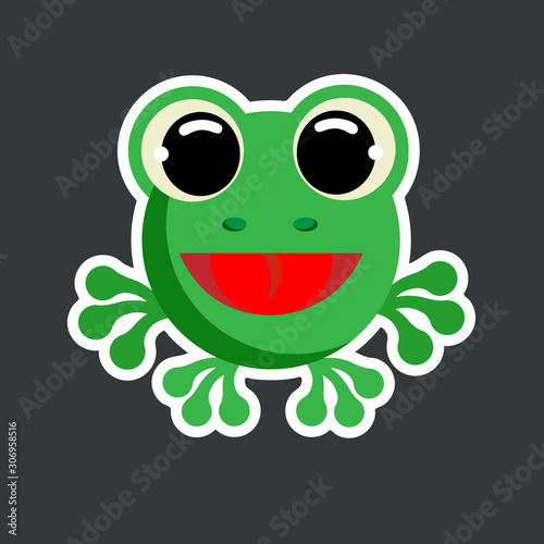 vector cute frog sticker template