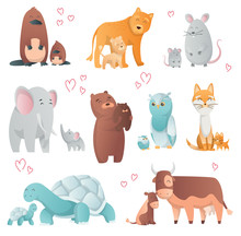 Collection Of Animals Mom And Baby. Cartoons Cute Animals In Flat Style. Print For Clothes. Vector Illustration. Cute Animals Family