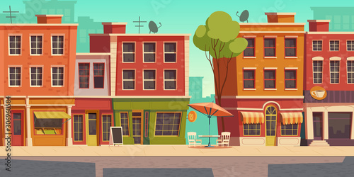 Obraz Urban street landscape with small shops and residential buildings, cartoon vector background. Cityscape with pavement, facades of cafes, restaurant and bakeries, town poster - fototapety do salonu