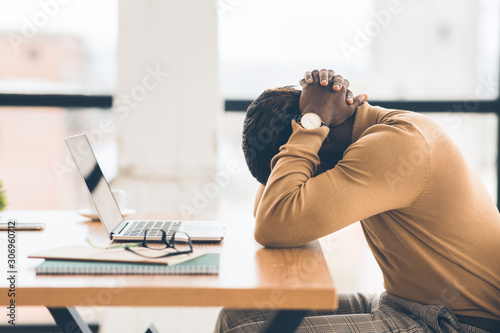 Exhausted african american manager feeling sad and desperate Canvas Print
