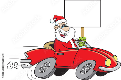 Obraz na płótnie Cartoon illustration of Santa Claus driving a sports car while holding a sign
