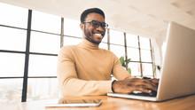 Happy Black Guy Updating His Personal Online Blog
