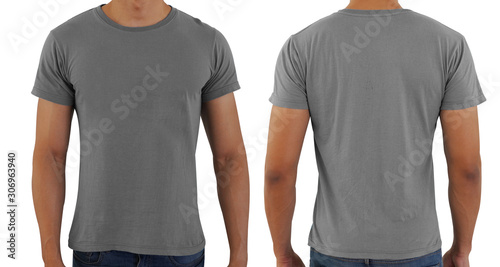 Fotografía Grayblank copy space  t-shirt on a man body template on white background