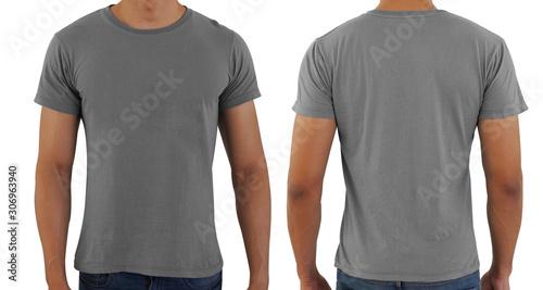 Cuadros en Lienzo Grayblank copy space  t-shirt on a man body template on white background