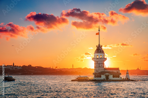 Maiden's tower at sunset time - Istanbul, Turkey
