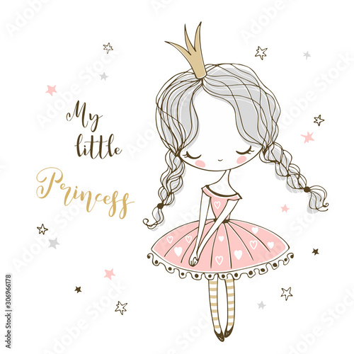 Fotografie, Tablou Cute little Princess in Doodle style. Vector.