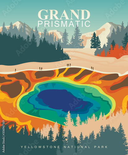 Grand Prismatic Spring on vector colorful poster Canvas-taulu