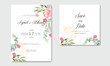 bohemian and vintage floral and leafs wedding invitation