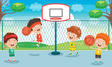 Little Kid Playing Basketball ...