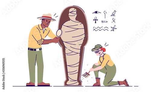 Archaeologists exploring mummy flat vector illustration Canvas Print