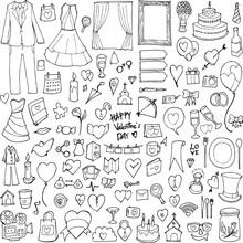 Set Of Wedding Drawing Illustr...