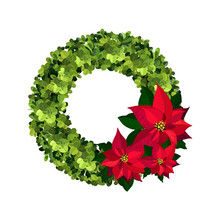 Boxwood Wreath With A Red Poin...