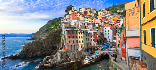 Amazing Italy series- colorful coastal village Riomaggiore in famous Cinque Terre, Liguria