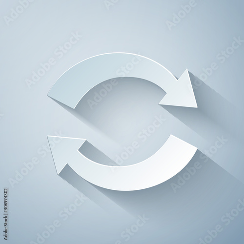 Fototapeta Paper cut Refresh icon isolated on grey background