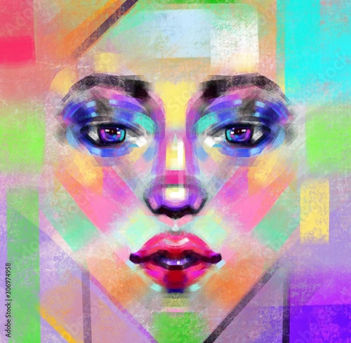 Fototapety, obrazy: Abstract face in watercolors digital