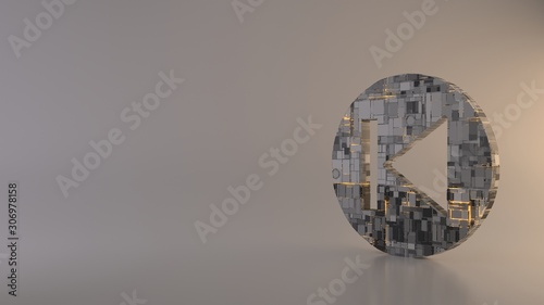 Photo light background 3d rendering symbol of previous icon