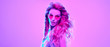 Leinwanddruck Bild - High Fashion. Gorgeous Party Girl in Pink neon. Young Beautiful Model woman, Trendy Disco hairstyle, makeup. Stylish Art Portrait. Creative colorful bright neon light. Night Club fashionable concept.