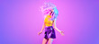 canvas print picture Adorable Fashion woman in party outfit dance, Trendy neon light hairstyle. Night club Music vibes, gel filter. Excited shapely beautiful girl dancing. Pop Art fashionable creative neon color.