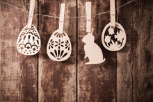 Easter  Wooden Eggs On Wooden ...
