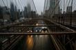 Brooklyn bridge under the rain and mist