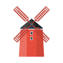 Red Windmill. Cartoon Vector I...