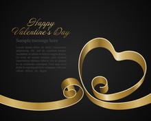 Heart From Golden Shiny Ribbon...