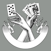 Hands With Playing Cards And R...