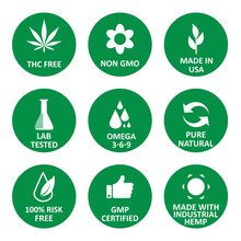 CBD Oil Green Round Icons Set Including THC Free, Non GMO, Made In USA, Lab Tested, Omega 3-6-9, Pure Natural, 100% Risk Free, GMP Certified, Made With Industrial Hemp. Flat Vector Illustration White