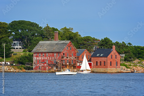Fotografia, Obraz Tarr and Wonson Paint Manufactory is one of the most famous landmarks on the North Shore Massachusetts in Gloucester Harbor, Massachusetts MA, USA