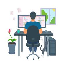 A Freelancer Programmer Coding A Program. Home Office.