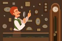 An Elegant Watchmaker Holding ...