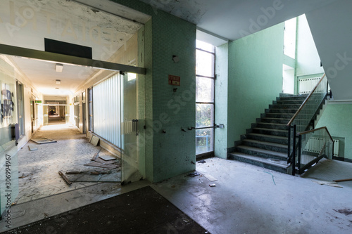 Urban exploration in an abandoned hospital Canvas Print