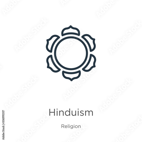 Hinduism icon. Thin linear hinduism outline icon isolated on white background from religion collection. Line vector hinduism sign, symbol for web and mobile
