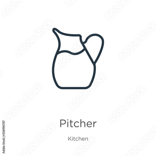 Fototapeta Pitcher icon. Thin linear pitcher outline icon isolated on white background from kitchen collection. Line vector pitcher sign, symbol for web and mobile obraz