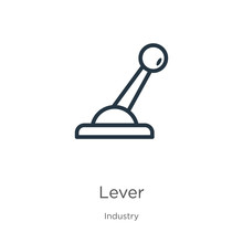 Lever Icon. Thin Linear Lever Outline Icon Isolated On White Background From Industry Collection. Line Vector Lever Sign, Symbol For Web And Mobile